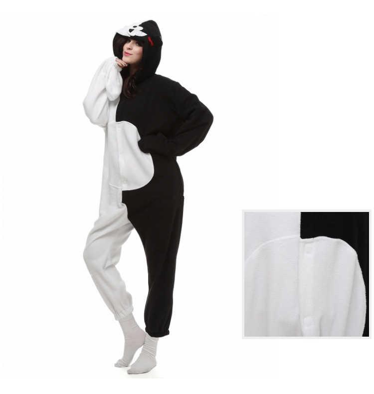 ... Danganronpa Dangan Ronpa Monokuma Monomi медведь флис Onesie Пижама  Костюм Хэллоуин Карнавальная Вечеринка Одежда комбинезон пижамы 05810fc791e8c