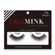 Genailish False Eyelashes Faux Mink 3D  Lashes Long lasting Full Strip 2 pec/pair FX01