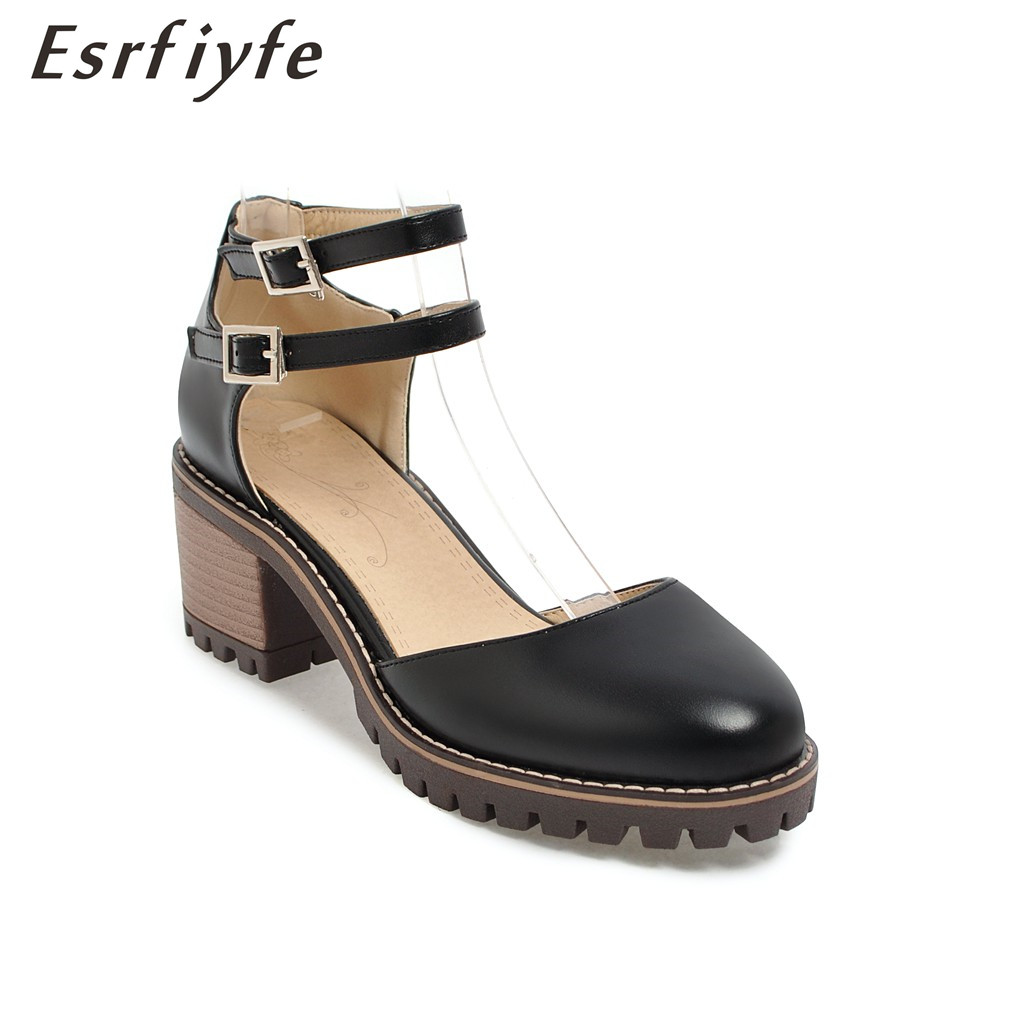 ESRFIYFE 2018 New Summer Women Sandals Two Buckle Thick Heels Fashion Round Toe Shoes Women Causal Shoes Handmade Big Size 34-43