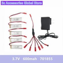 5pcs 3.7V 600mah Lipo battery 701855 and charger for UDI u817 u817a u817c u818a syma s032 rc Airplane drone Part wholesale