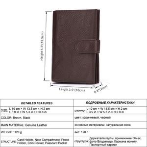 Image 2 - Misfits carteira de couro genuíno, carteira masculina com espaço para passaporte, alta capacidade, com compartimento para cartão e bolsa para moedas