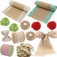 Hessian Jute Burlap Table Runner Chair Sash Burlap Flower Banner Hemp Rope Ribbon For Craft Birthday Wedding Party Decoration wedding party lace vintage jute table runner burlap fabric for burlap chair sashes burlap ribbon wedding decor supplies 15 240cm