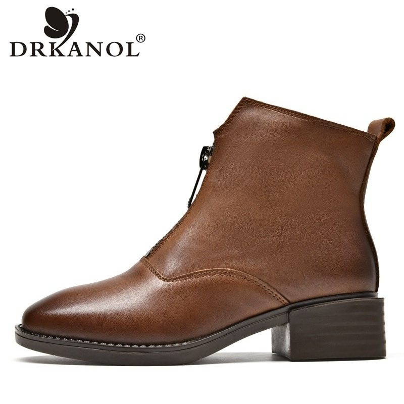 DRKANOL Vintage Genuine Leather Pointed Toe Women Winter Ankle Boots Fashion Front Zipper Shoes Women Thick Heel Martin Boots худи topman topman to030emzvg69