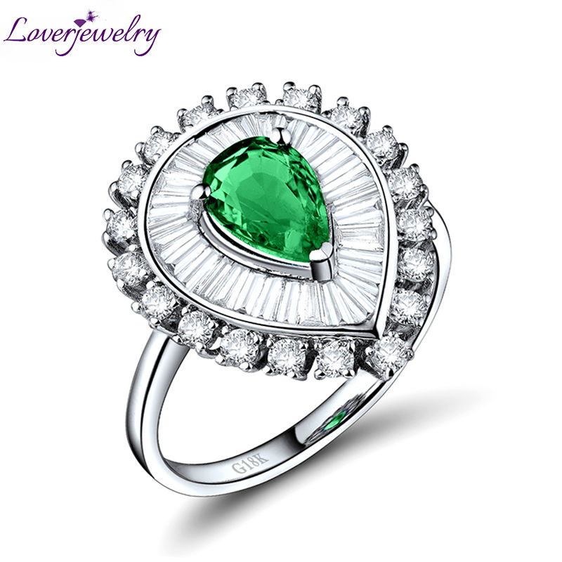 Emerald Rings For Women Pear 5x7mm 18k White Gold Natural Diamond Emerald Gemstone Engagement Party Heart Ring Lady Jewelry Gift