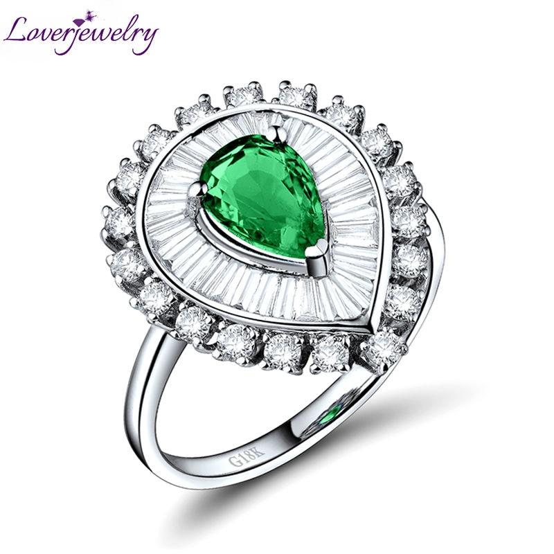 Esmeralda anillos para las mujeres de 5x7mm oro blanco de 18 k diamante Natural de piedras preciosas Esmeralda de la fiesta de compromiso de corazón anillo dama regalo de la joyería