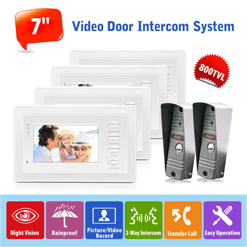 Hot Sell 2v4 Hands Free Dual Intercom Home Video Door Intercom Systems 7