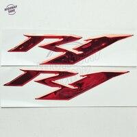 1 زوج الأحمر r1 ملصقات موتو الدراجة النارية 3d شعارات مزينة الشارات ملصقا ل yamaha yzf r1