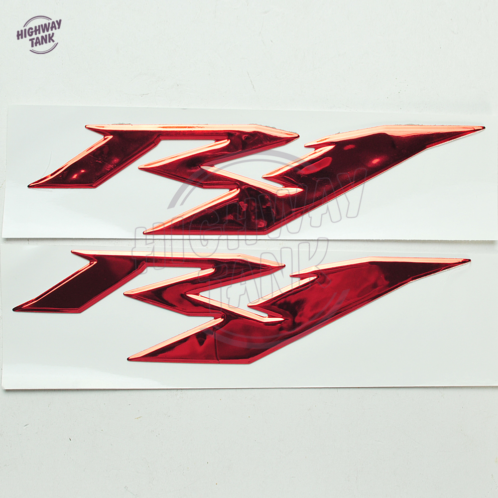 1 Pair Red Motorcycle 3D <font><b>R1</b></font> <font><b>Stickers</b></font> Moto Bike Emblems Decorated Decals <font><b>Sticker</b></font> case for Yamaha YZF <font><b>R1</b></font> image