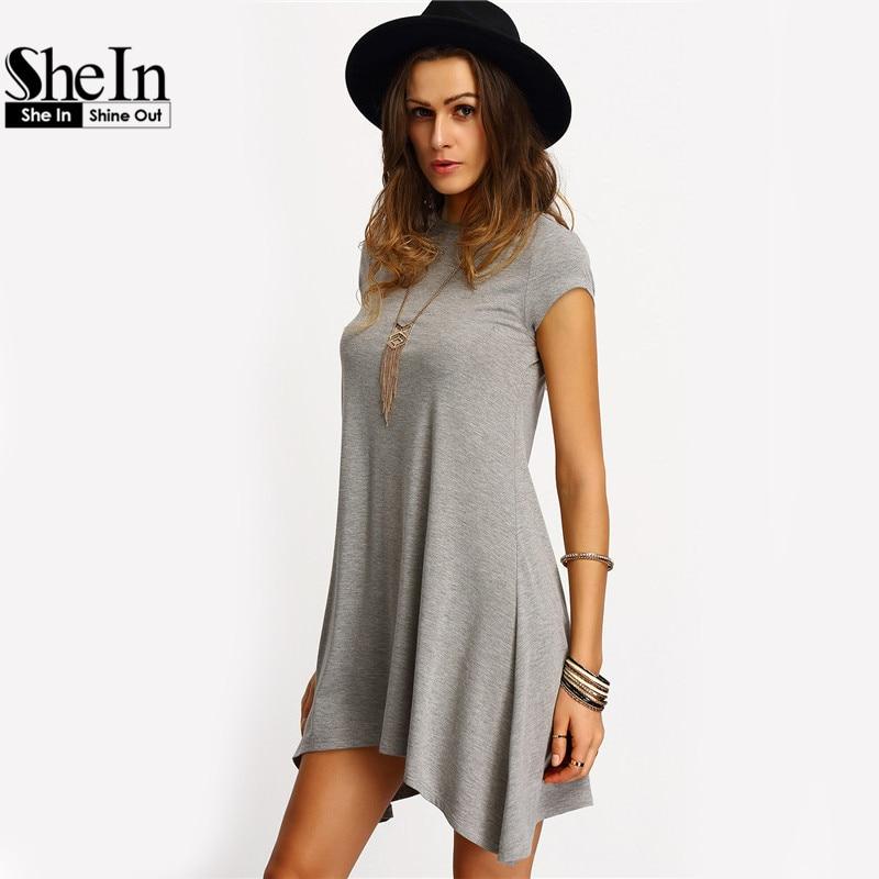 Shein новое прибытие женские летние платья 2016 дамы серый асимметричная хем повседневная шею с коротким рукавом сдвиг тройники dress