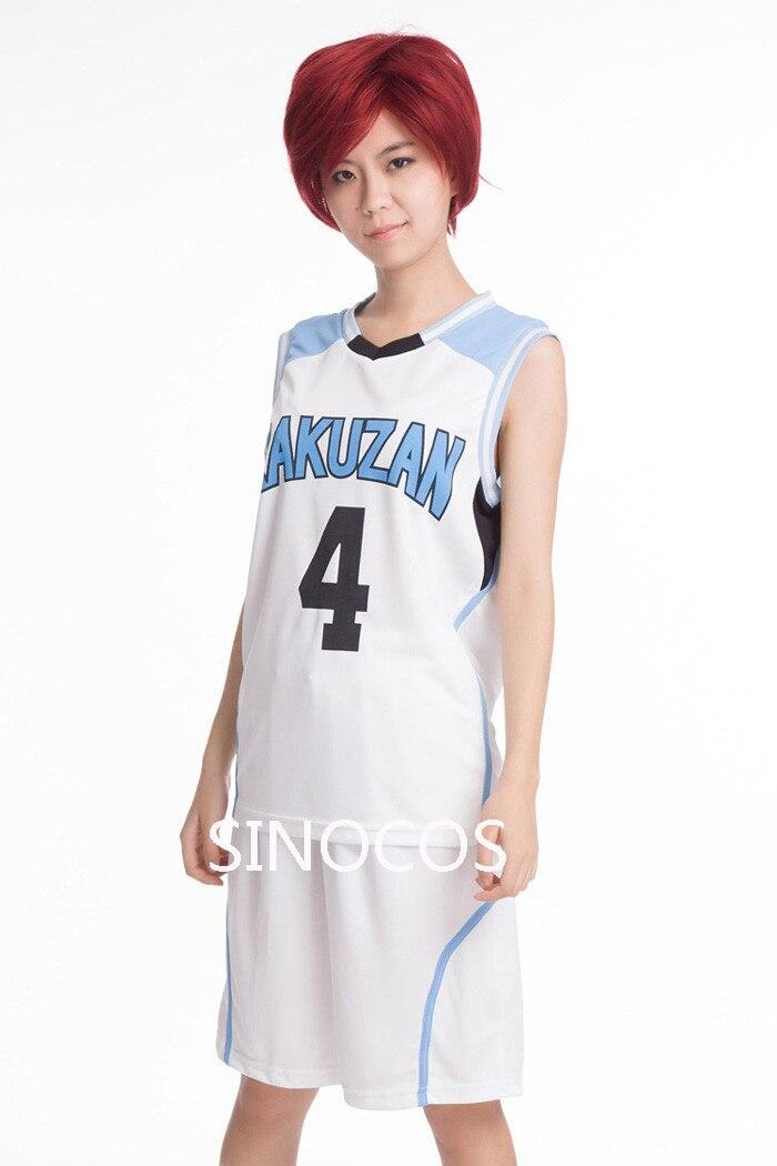 New Kuroko no Basuke RAKUZAN No.4 Akashi Seijuro Basketball Jersey + Shorts Whole Set Cosplay Costume Men's Sports Wear Uniform