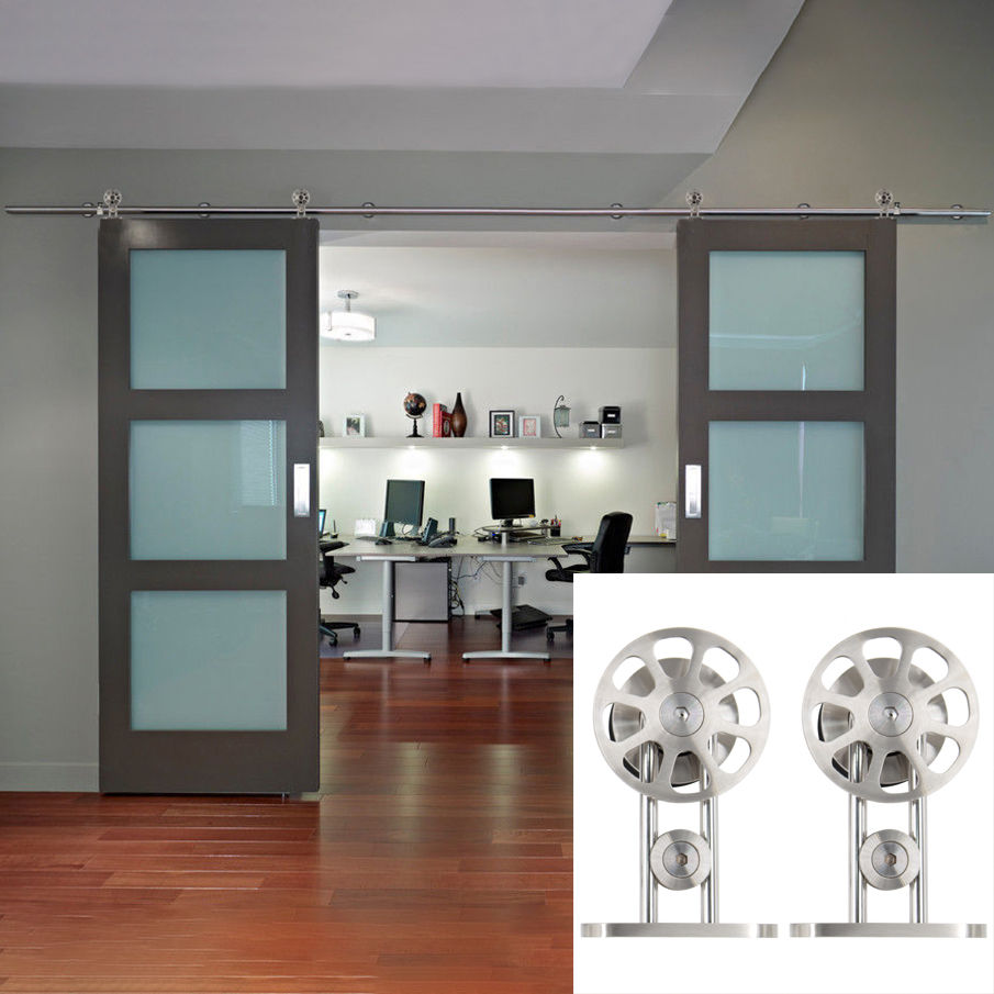 Double Rustic Barn Wood Door/Glass Door Hardware Stainless Steel Sliding Roller Track Kit