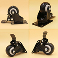 4PCS/Lot 2.5 Inch Black Swivel Casters With Brakes Sofa Baby Bed Trolley Wheels Load-Bearing 70kg Furniture PU Rubber Castors