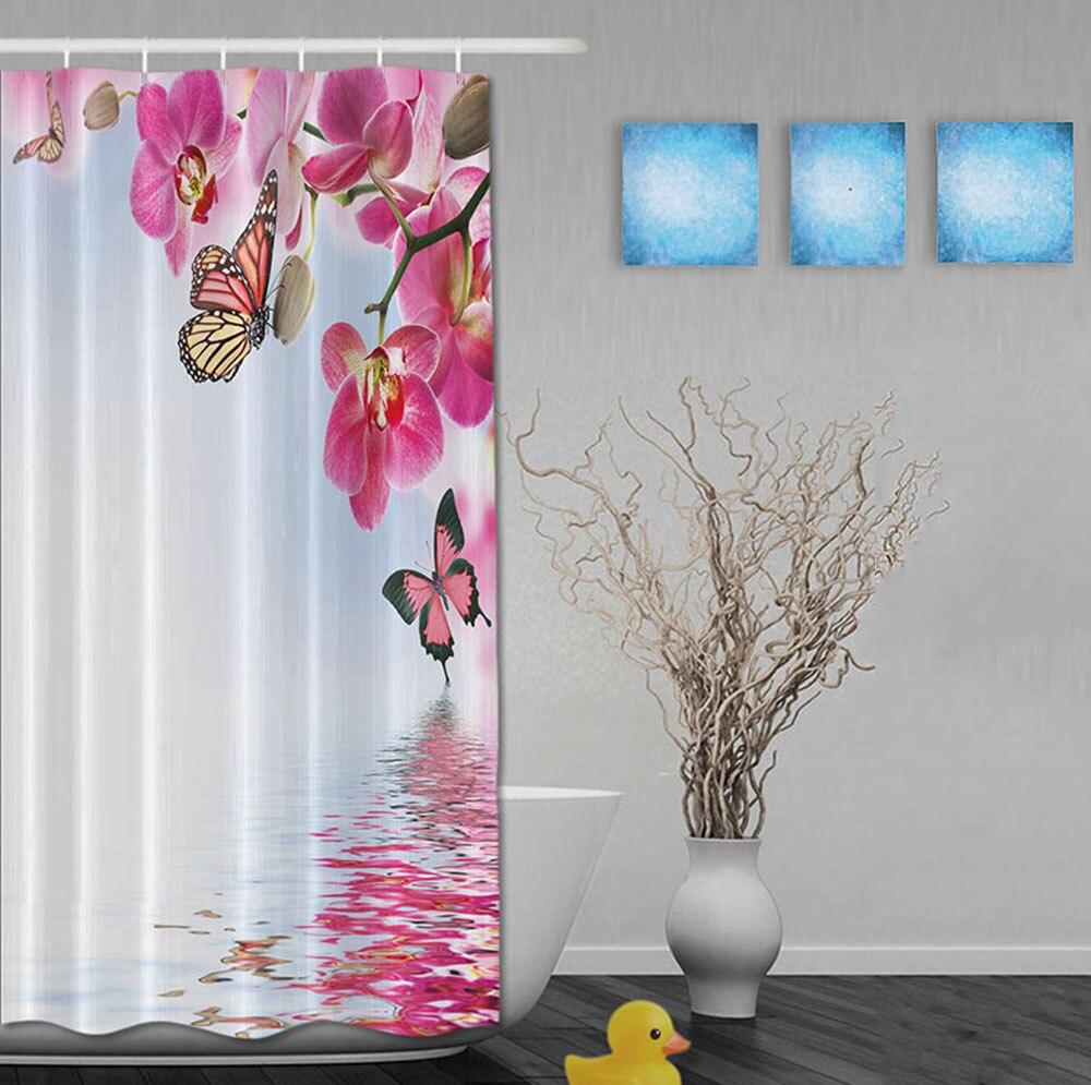 Pielāgots akvarelis rozā ziedu un tauriņu ķīniešu stila dušas - Mājsaimniecības preces - Foto 2