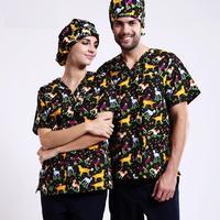2017 Nouveau Animaux Chirurgie Choses Vêtements Médecins et Infirmières Belle du Dessin Animé Frotte Ensemble Coton Tops + Pantalon Hôpital uniformes