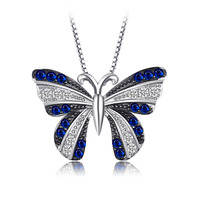 JewelryPalace Butterfly 0 4ct Created Blue Spinel Pendant 100 925 Sterling Silver Not Include A Chain