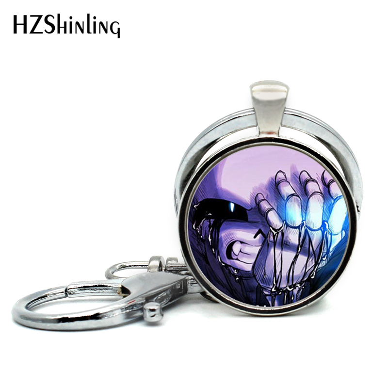 2017 Undertale Game Gamer Gaming Keychains Ghost pendant Video Game Keyring Glass Caboch ...