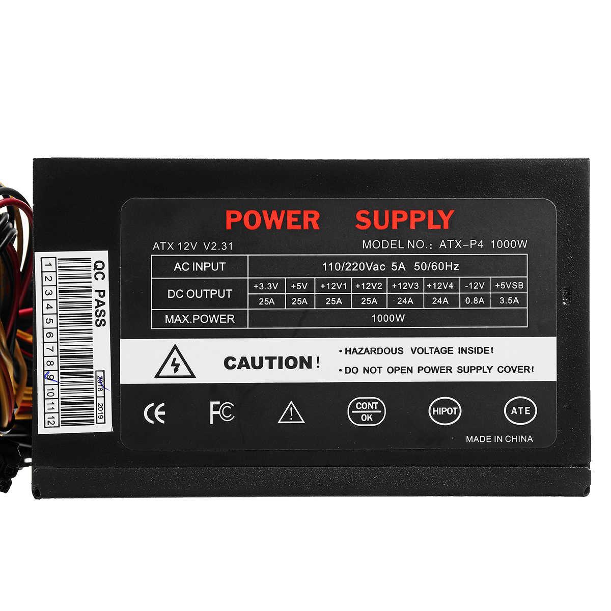 Max 1000W Power Supply PSU PFC Silent Fan ATX 24pin 12V Komputer PC SATA PC Gaming Power Supply untuk Intel Amd Komputer