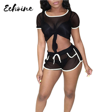 Echoine Sexy See Through Colorblock Two Piece Set Women Bandage Crop Tops Short Pants Plus Size Sporting Tracksuits Outfits
