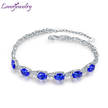 Luxury Natural Blue Tanzanite Bracelet Solid 18Kt White Gold Stunning Diamond Wedding Jewelry for Wife Christmas Gift