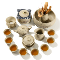 Kung Fu tea set home Chinese retro Jingdezhen stone hand painted tea cup teapot cover bowl set gift box