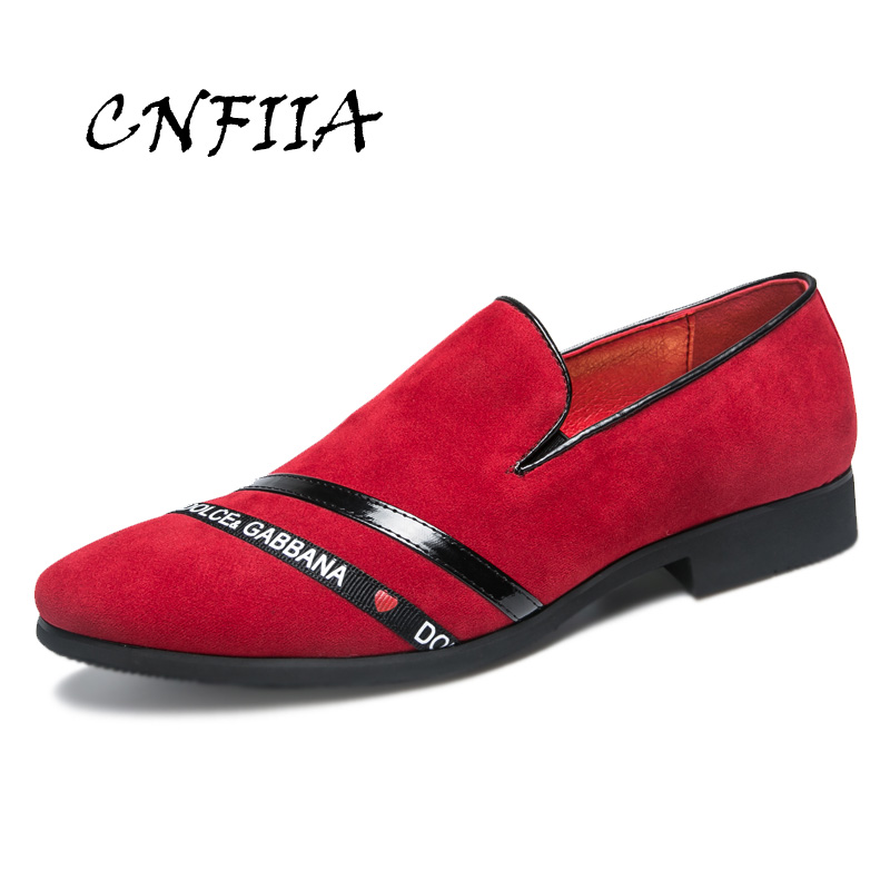 CNFIIA Loafers   Leather   Shoes Casual Footwear Men Red Black Moccasins Men Shoes Luxury Brand Fashion Men Shoes 2018 Designer New