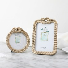 New Ins Resin Hemp Rope Photo Frame European Retro Rectangular Round Wedding Home Decoration Picture