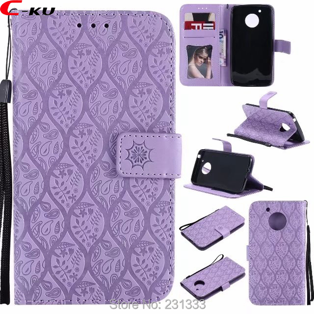 C-ku Strap Flower Wallet Leather Pouch Case For Motorola MOTO G2 X Style G4 Z FORCE G5 PLAY Lavender TPU Stand ID Card Skin 1pcs