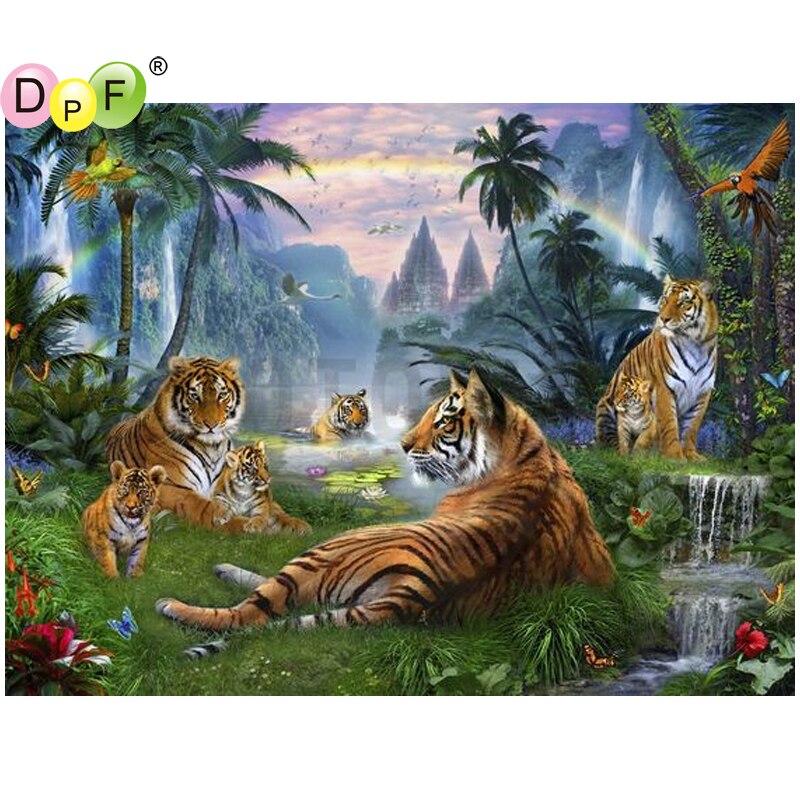 DPF Tiger group of waterfall home decor diamond embroidery diamond painting cross stitch needlework crafts diamond mosaic square