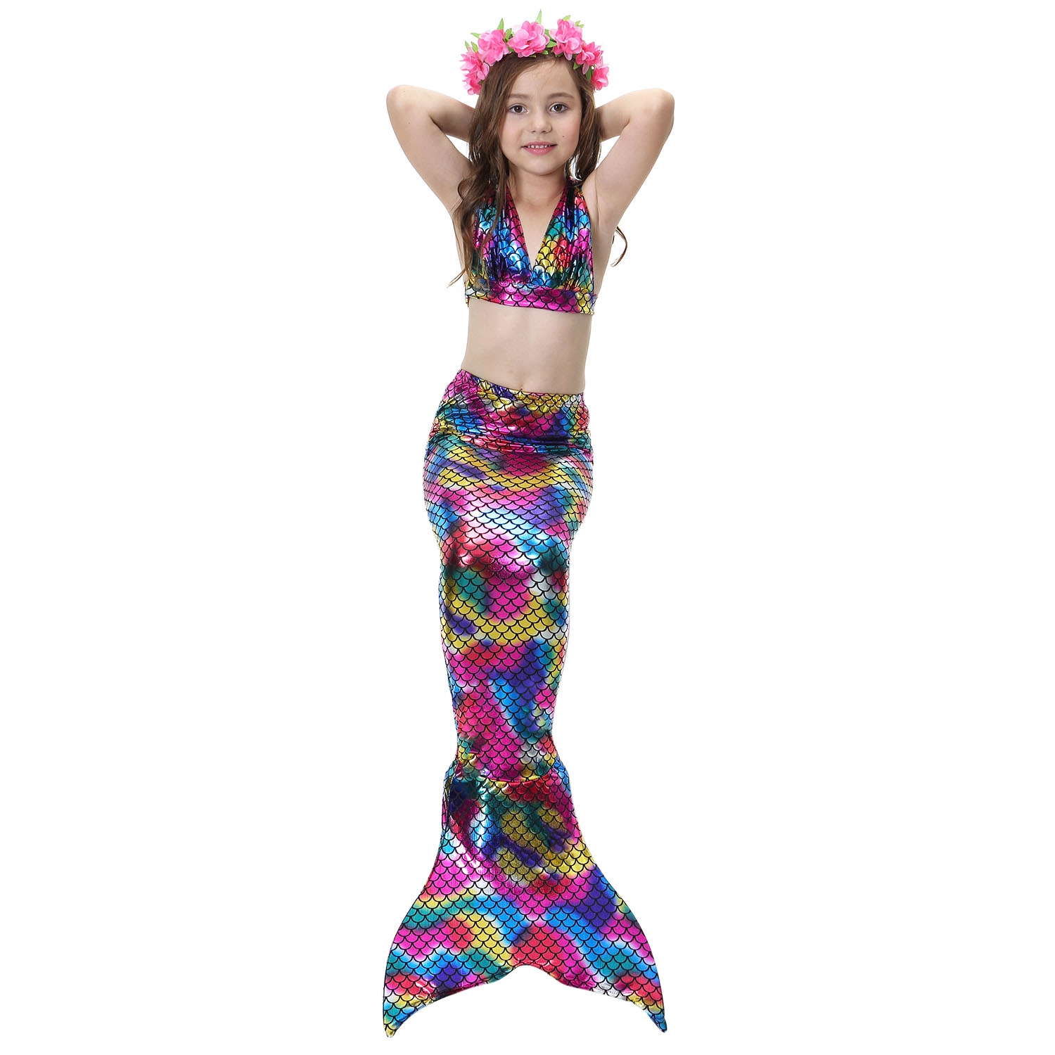New 3 Pcs/sets Lovely Children Baby Girls Cosplay Mermaid Tail Swimsuit Costume Mermaid Swimwear No Monofin Pleasant To The Palate Mother & Kids