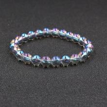 HOBBORN-Bracelet en pierre naturelle, à Flash, pour hommes et femmes, 8mm, bijou brésilien Labradorite, fait à la main pour Couple
