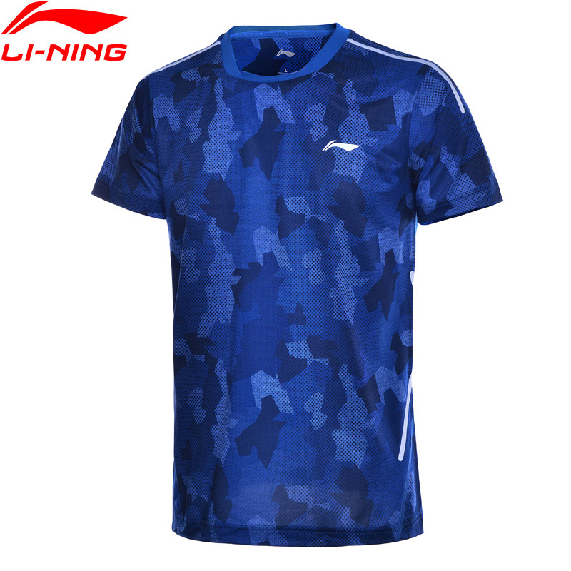Li-Ning Men Badminton T-Shirts Regular Fit 100% Polyester Fitness Comfort LiNing Li Ning Breathable Tee Tops AAYN171 MTS2755