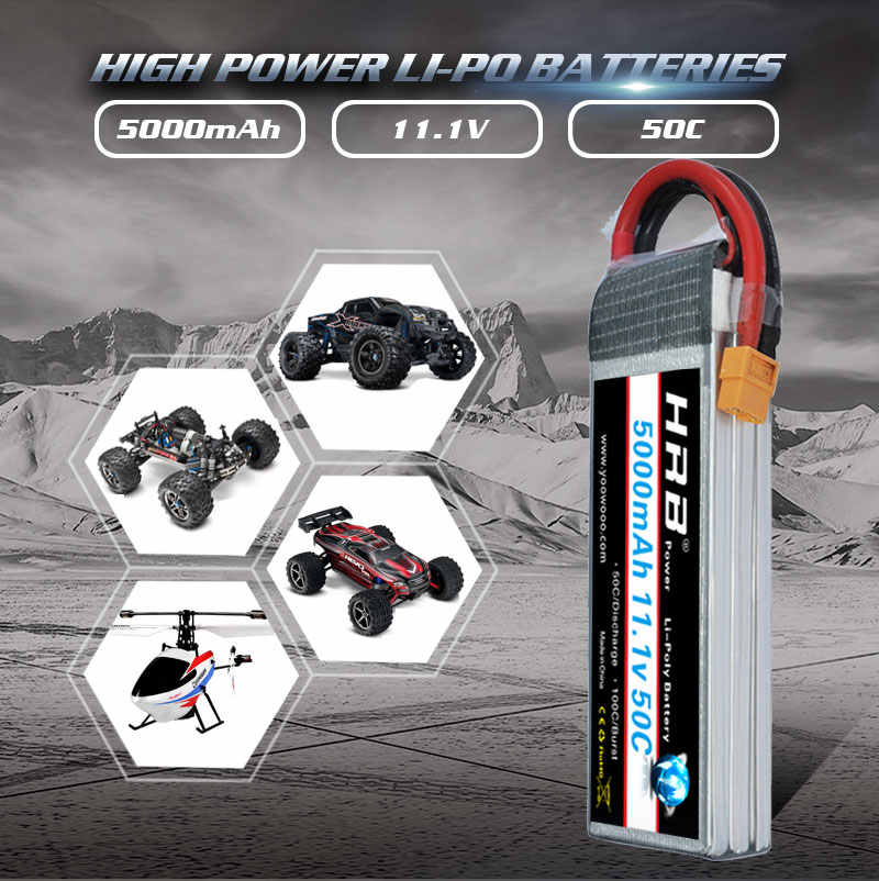 2 unidades hrb lipo 3 s 5000mah rc bateria 11.1 v 50c xt60 deans conector para traxxas x-maxx trx4 defender 1:10 1:12 carros helicóptero