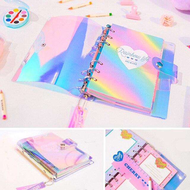 2018 nuevo A6 PVC creativo láser Arco Iris portátil calidad diario nota libro Kawaii diario papelería escuela herramientas suministros