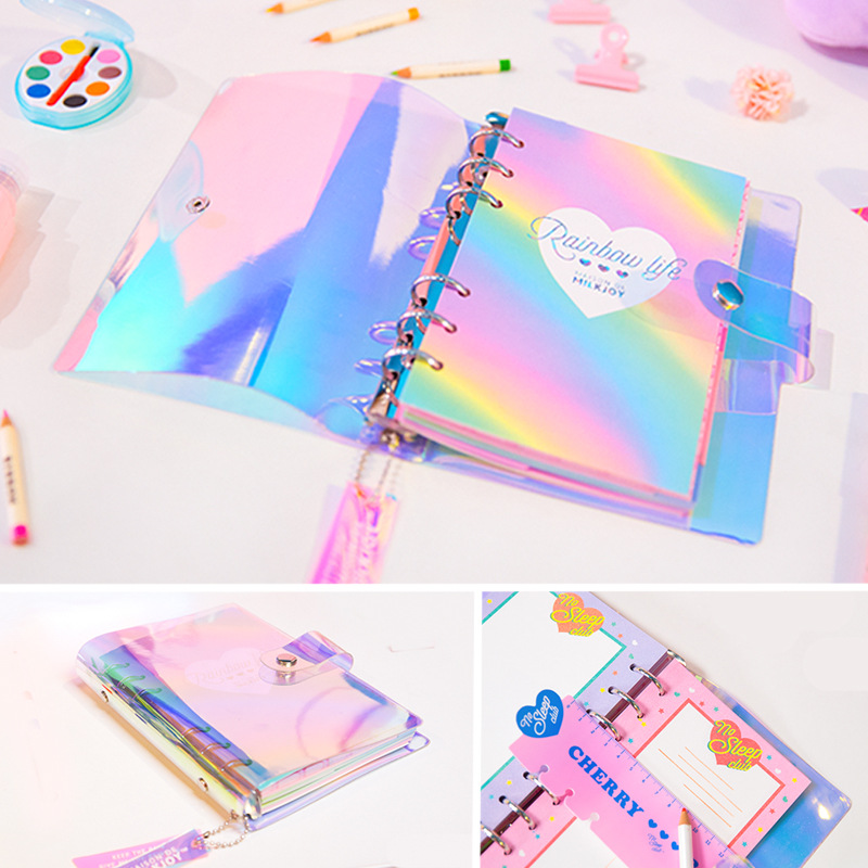 A6 PVC Creative Laser Rainbow Planner Notebook Quality Planner Diary Note Book Kawaii Journal Stationery School Tools Supplies