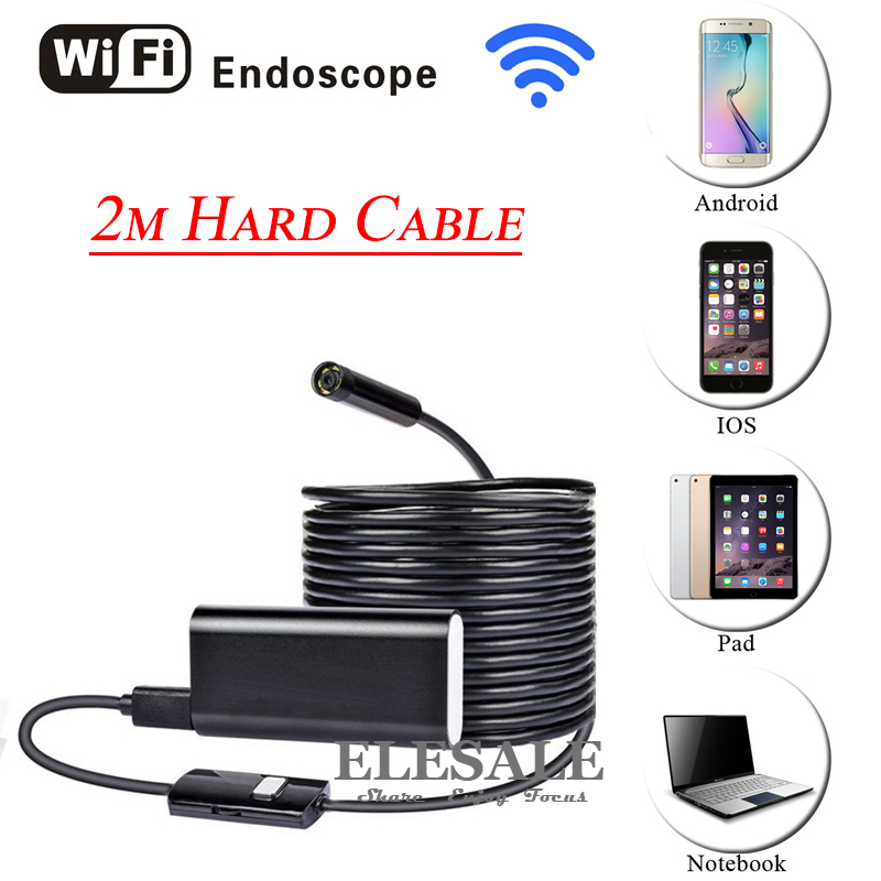 HD 720P 8mm 2M Wireless Wifi Android iOS Endoscope Camera Waterproof Hard Cable Inspection Borescope Camera For Car Repair industrial endoscope wifi with android and ios 720p 6 led 8mm waterproof inspection borescope tube camera with 2m cable no usb