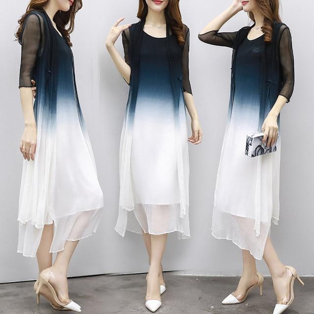 6a67f34c239aa 2017 New Summer Dress Chiffon Dress Up Korean thin sub code loose two suit  summer