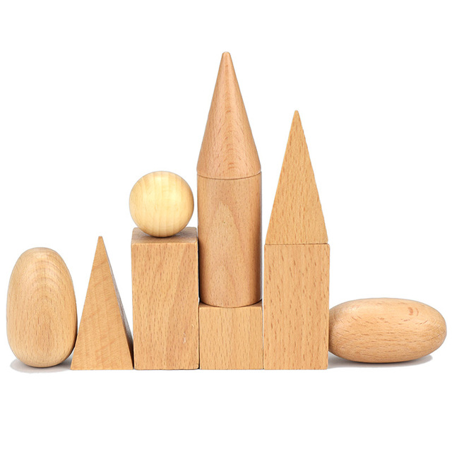 Bebé, materiales Montessori Sensorial juguetes 10 unids/lote bloques de madera niños educativos de madera formas geométricas conjunto de bloques para niños pequeños