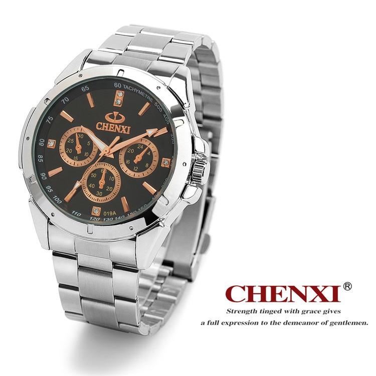 Clássico da Moda Casal dos Amantes de Quartzo Relógio de Pulso Relógios para Mulheres dos Homens Chenxi Marca Quente Delicado Luxo Completa Alça Aço Presente Relógio