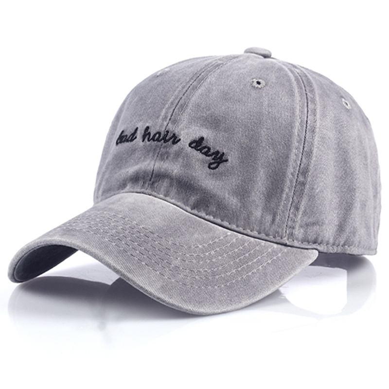 new Bad Hair Day Cap Washed Baseball Cap Women Men Hat Cap Casual Snapback Letter Dad Hat Summer Cotton Adjustable Bone Male 4