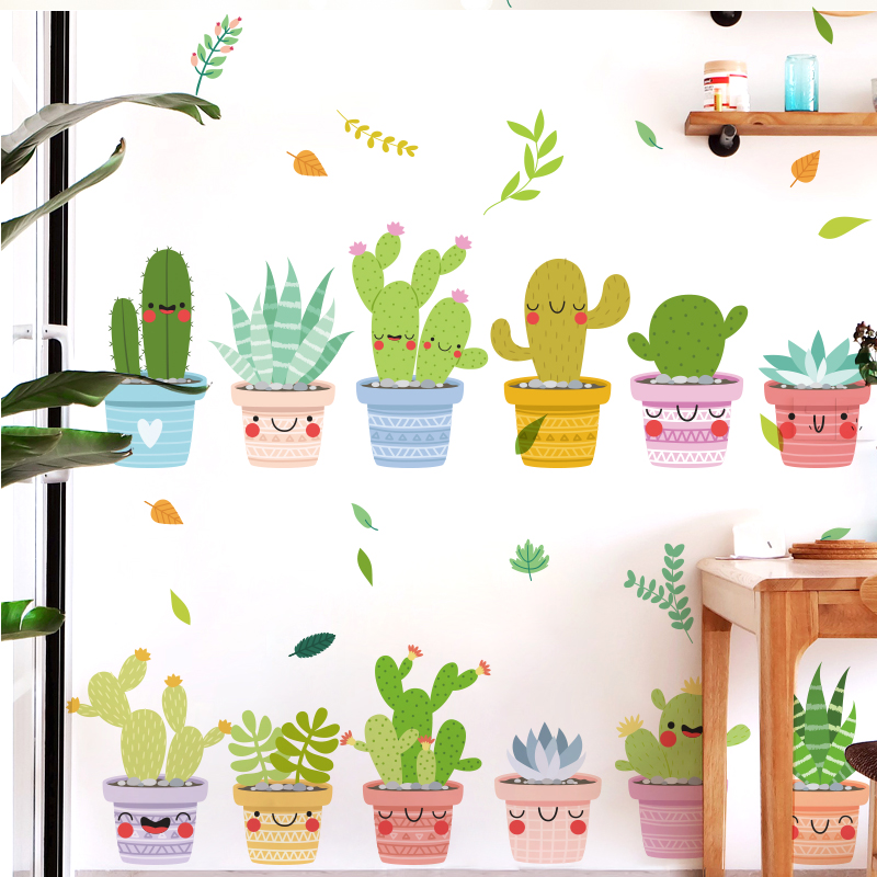 Cute potted plants Wall Stickers For kids Rooms&kindergarten Decor DIY Wall Decal Decoration QT715
