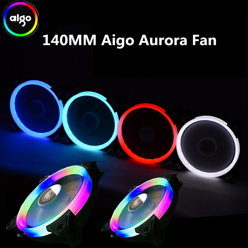 Aigo aurora fan 140mm/14CM LED ring-shaped of solar eclipse 12V 3pin+4pin Desktop PC Computer Cooling Cooler Silent Case Fan gdstime 10 pcs dc 12v 14025 pc case cooling fan 140mm x 25mm 14cm 2 wire 2pin connector computer 140x140x25mm