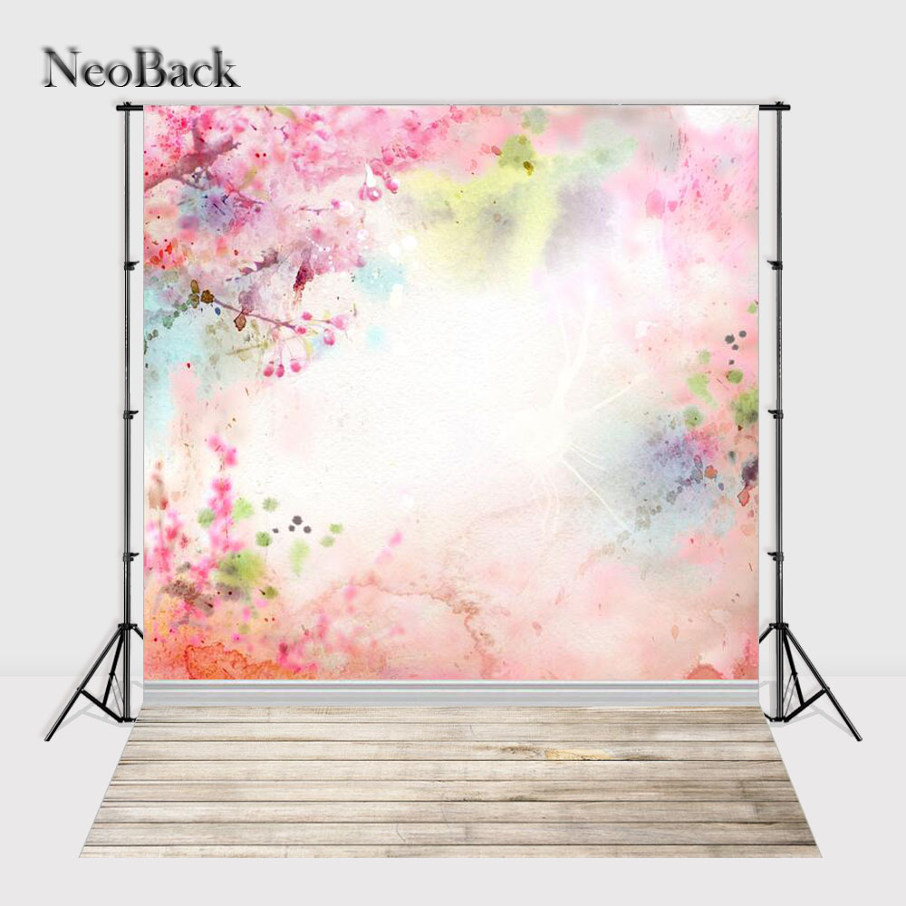 NeoBack 6x9ft Spring blossom Flower view new born baby photo backgrounds computer printed wood floor Studio Photo backdrop P1052