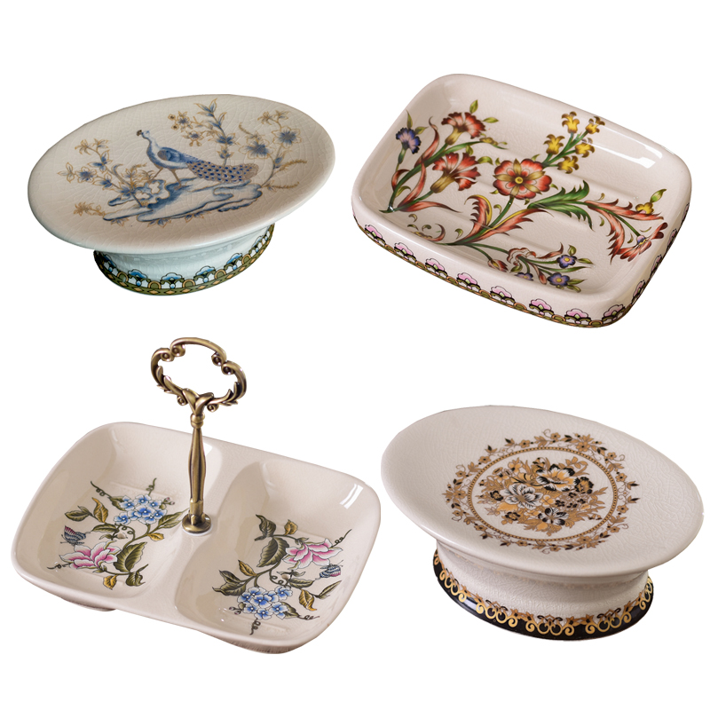 European Antique Retro ceramic soap box with drainer soap dish shower tray soapbox draining rack Bathroom accessories draining soap dish with lid