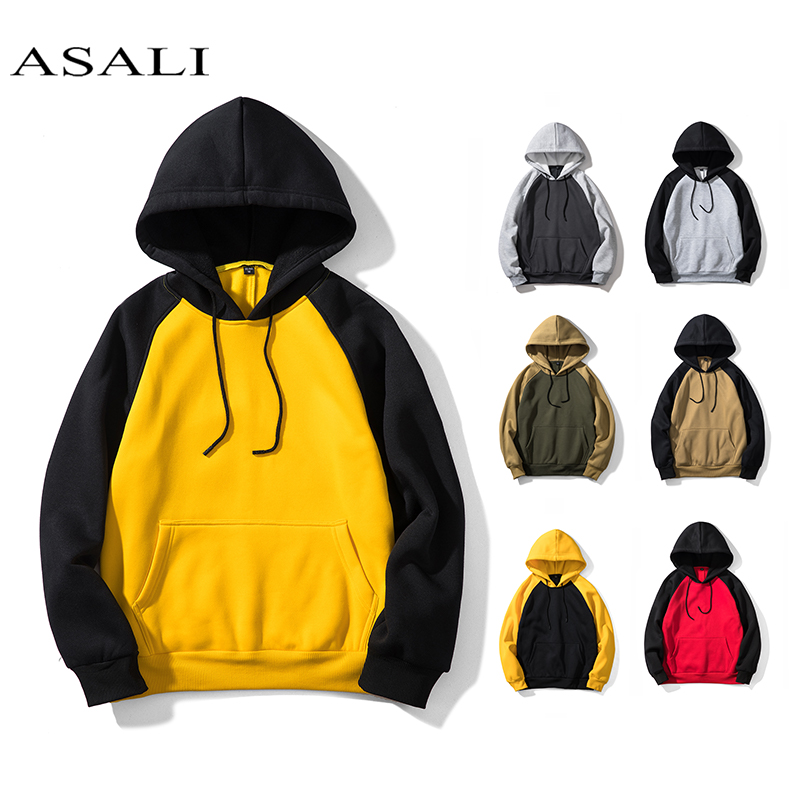 ASALI Patchwork Hoodies Men Thick Hooded Sweatshirts Long Sleeve Chandal Hombre Mens Casual Hip Hop High Streetwear Fleece Hoody