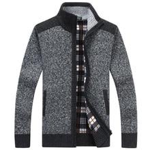 Mens Sweaters Autumn Winter Cashmere Wool Zipper Pullover Man Casual Knitwear Plus Size M-XXXL