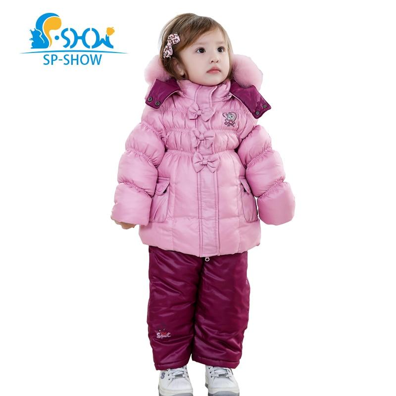 SP-SHOW Зимой Дети Костюм Девушка Супер Моды Костюм Теплое Пальто Подкладка Ватки, Чтобы Согреться Анти-пиллинг Пальто 128202