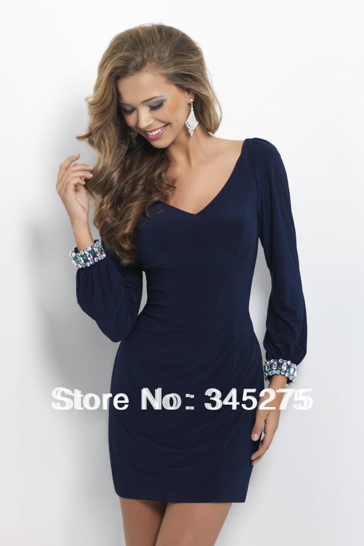 Popular Navy Blue Long Sleeve Cocktail Dress-Buy Cheap Navy Blue ...
