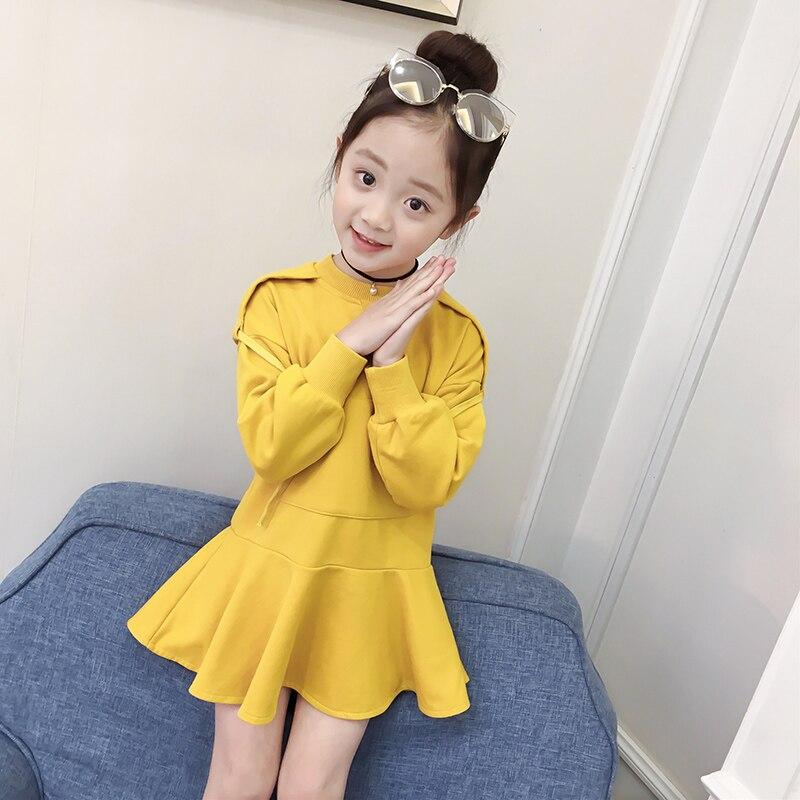 Noir jaune anniversaire filles robe 2018 à manches longues automne décontracté enfants vêtements enfant en bas âge fille vêtements retour à l'école tenues 10 12