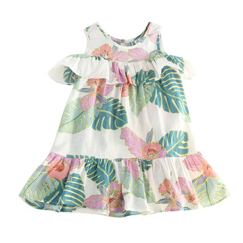 2018 Kid Toddler Baby Girls Clothes Outfits Clothes Off shoulder Cotton Ruffled Dress Summer Flower Prints One-Piece Beach Dress