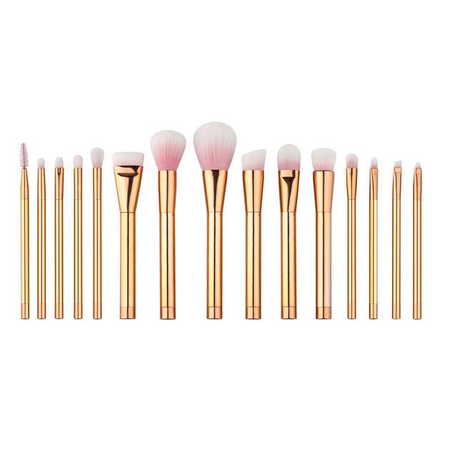 Hot 15 unids Oro Rosa Increíble Soft Pinceles de Maquillaje Cosmético Profesional Compone el sistema de Cepillo